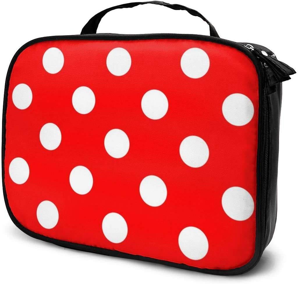 YongColer Polka Dot Red Storage Bag Organizer Portable Gift for Girls Women Large Capacity Travel Makeup Train Case for Makeup Brushes Digital Accessories Lazy Tote Bag