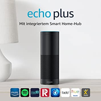 Echo Plus (1. Gen.) - Mit integriertem Smart Home-Hub (schwarz) - inklusive Philips Hue White E27 LED Lampe