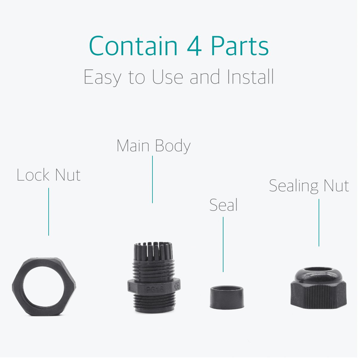 Lantee PG 16 Cable Gland - 20 Pieces Black Plastic Nylon Waterproof Wire Glands Connector Fitting by Lantee (Image #4)