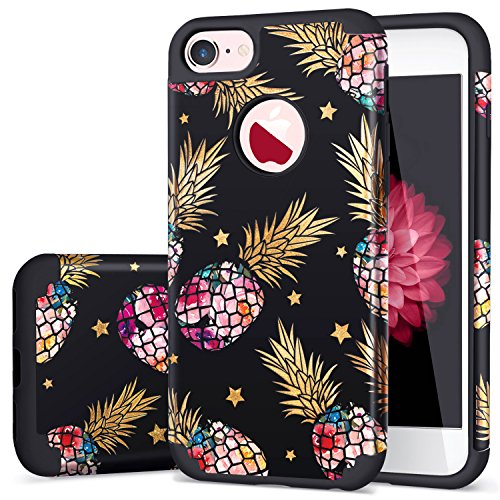 Fingic for iPhone 8 Case,iPhone 7 Case Pineapple,Ultra Slim Phone Case Hard PC &Soft Rubber Floral Pineapple&Shinny Star Design Cover Protective Skin Cover for iPhone 7/iPhone 8,Floral Pineapple/Black