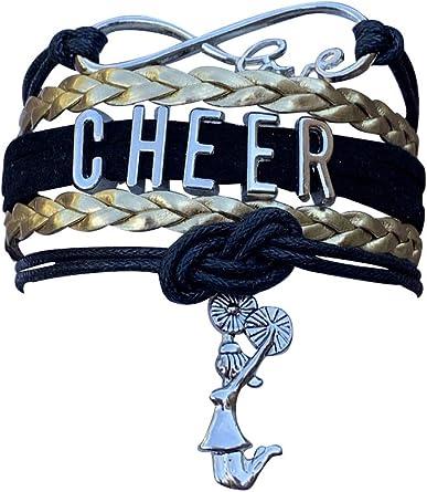 Cheer Charm Bracelet Girls Infinity Love Adjustable Cheerleading Jewelry in Team Colors For Cheerleaders
