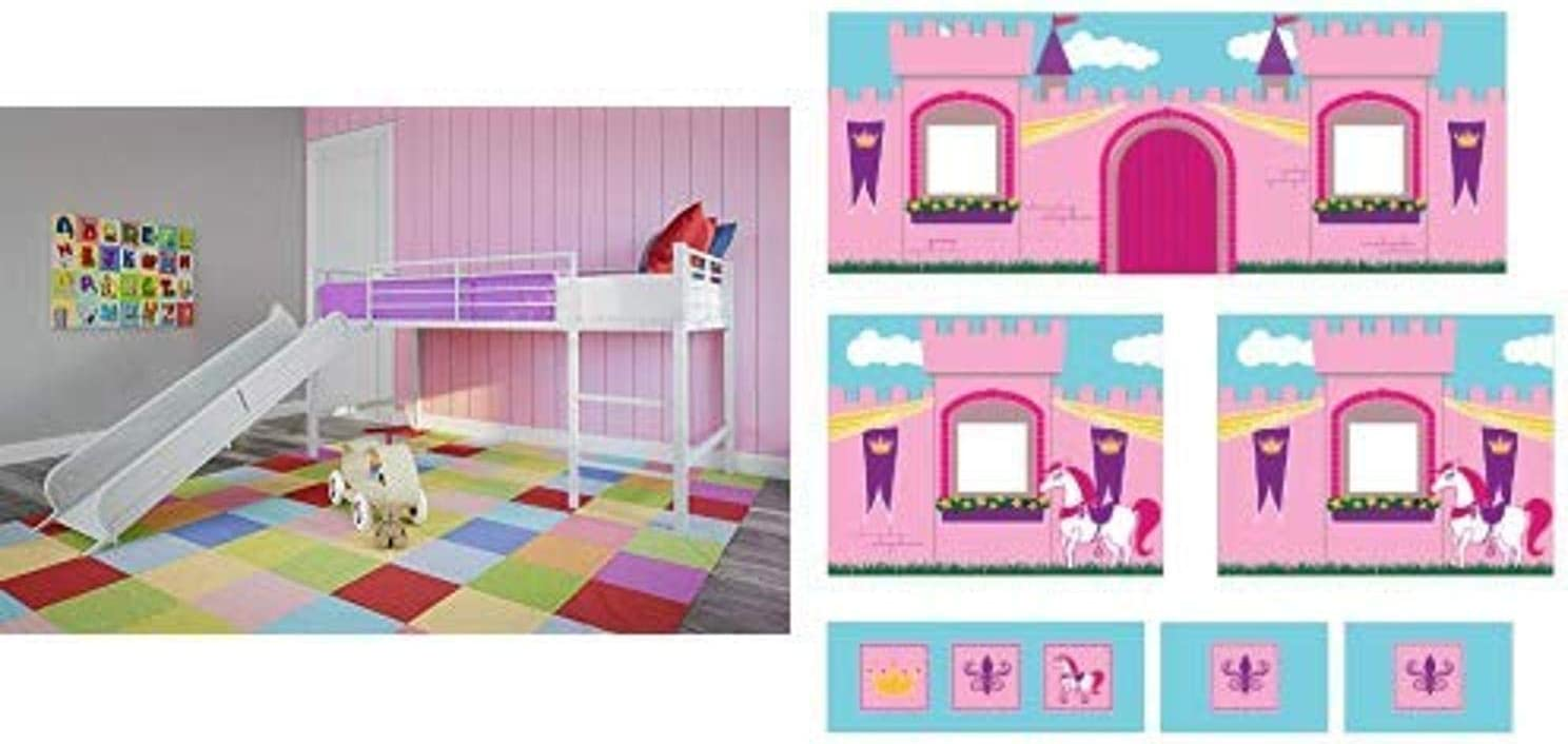 DHP Junior Twin Metal Loft Bed with Slide, Multifunctional Design, White with White Slide AND DHP Curtain Set for Junior Loft Bed with Princess Castle Design