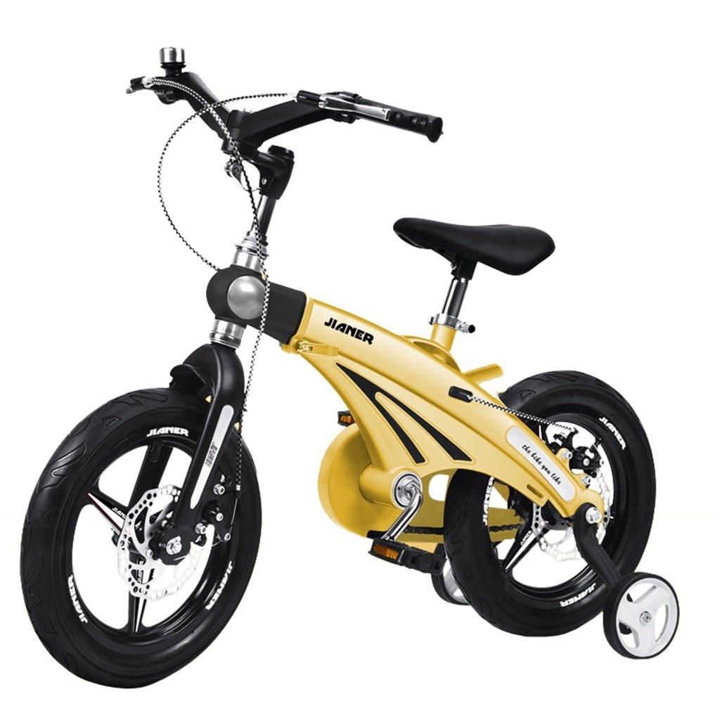 KANGR-子ども用自転車 子供の自転車適して2-3-6-8男の子と女の子幼児玩具屋外マルチカラーマウンテンバイク|折りたたみハンドルバー|調節可能な高さ| 8CMスケーラブルボディー|ダブルディスクブレーキ|トレーニングホイール付き-12 / 14/16インチ ( 色 : イエロー いえろ゜ , サイズ さいず : 16 inches ) B07BTWWRL5 16 inches|イエロー いえろ゜ イエロー いえろ゜ 16 inches
