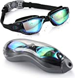 UV Protection Swim Goggles for Adults, Swimming Goggles with Protection Storage Case, No Leaking Anti-Fog Coated Design…