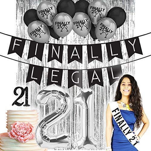 Finally Legal 21st BIRTHDAY DECORATIONS|21 Birthday Party Supplies| 21 Cake Topper Black Glitter| Banner| Black Balloons| Silver Finally 21 printed Latex balloons| Finally Legal 21| Finally 21 Sash Wh ()