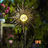 Luces Solares Jardín Exterior, 1 Pieza Luces de Estaca de Metal con Forma de Sol Hueco IP55 Vía Impermeable Lámparas Decorativas Luces Blanco Cálido Para Sendero, Patio, Césped, Yard