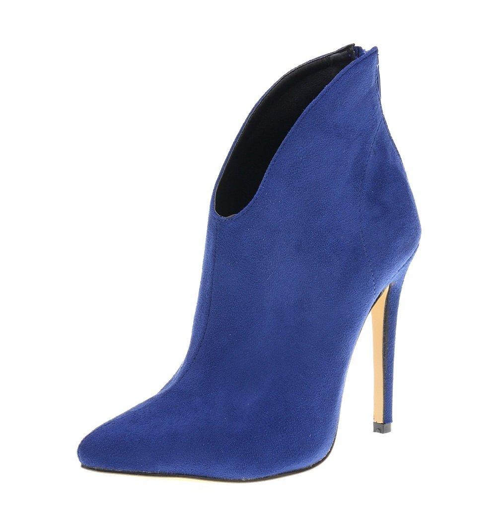 HooH Femmes Flanelle Femmes Pointed Toe Flanelle Pumps Bottines Bottines Bleu 234252b - automaticcouplings.space