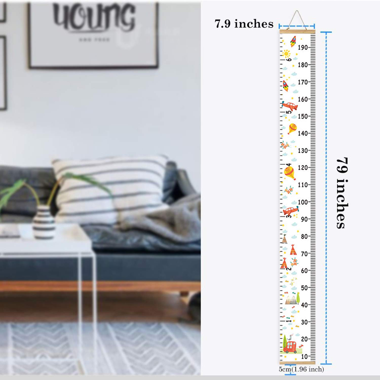Kids Growth Chart,Bingolar Children Height Chart Growth Wall Chart Height Wall Chart Art Hanging Rulers for Kids Bedroom Nursery Wall Decor Removable Height and Growth Chart White 7.9 x 79in
