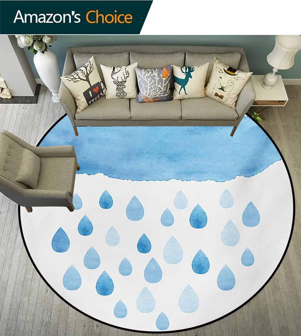 RUGSMAT Nature Non Slip Round Rugs,Rain Drops and Cloud in Watercolor Painting Effect Cute Nimbus Fun Art Illustration Oriental Floor and Carpets,Diameter-71 Inch Blue White by RUGSMAT (Image #2)