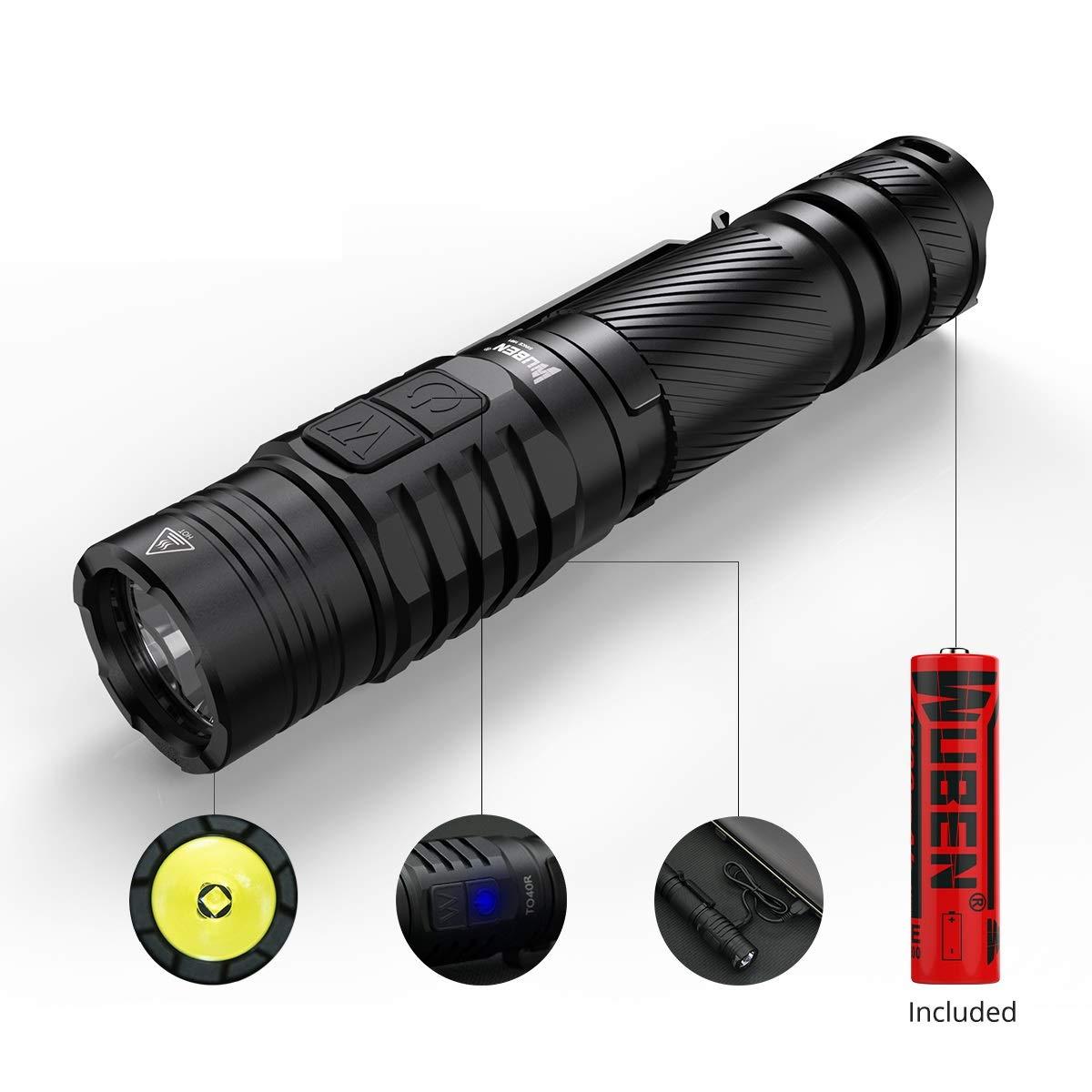 Linternas LED Alta Potencia, WUBEN® TO40R Recargable USB 1200LM CREE XPL V6 Linterna Tactica