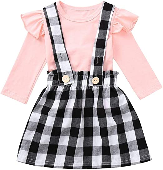 Solid Plaid Party Dress Outfits Clothes for Toddler Baby Girls 18M-5T Suma-ma Long Sleeve Girls Dress