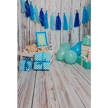Cassisy 1,5x2,2m Vinilo Cumpleaños Telon de Fondo Niño Decoración de Interiores Tablas de Madera Caja de Regalo Azul Globo Fondos para Fotografia ...