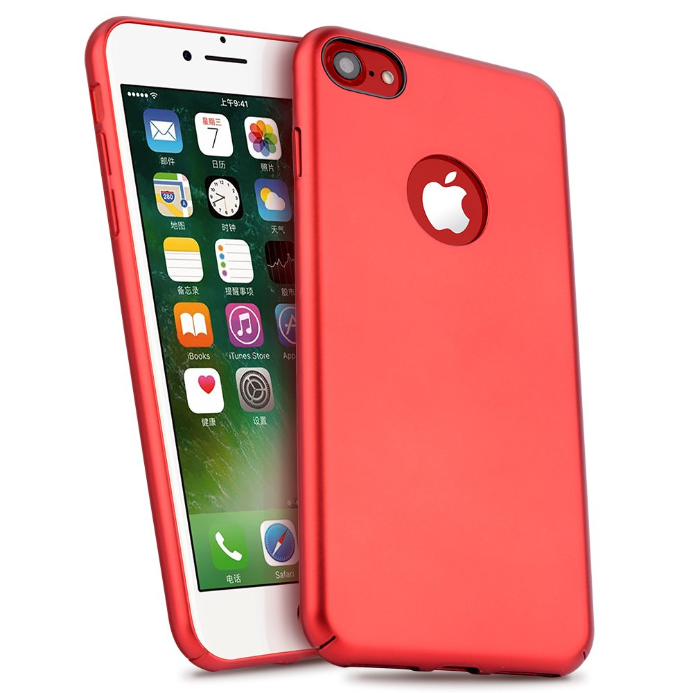 iPhone 7 / 7Plus Case, MeanLove Pro Elegent Ultra Slim Hard Case Cover for Apple iPhone 7 / 7PLus (Metal Plate Inside for Magnetic Car Mount) (Red, For iPhone 7)