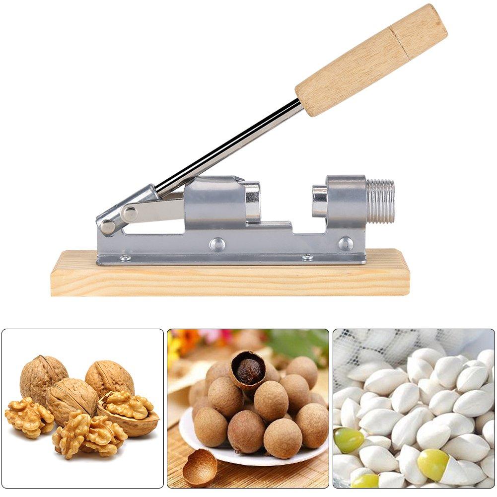 Heavy Duty Nutcracker Pecan Nut Cracker Opener Tool Desktop Wood Handle & Base Haofy