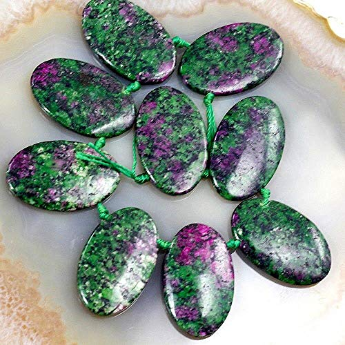 Ruby Zoisite Flat Oval Beads - 35mm Natural Flat Oval Beads (Ruby in Zoisite)