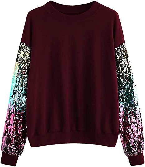 Womens Fashion Sequin Long Sleeve Sweatshirt Jacket Tops Casual Blouse Coat T