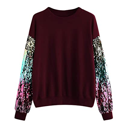 40bdaa5ed1dcb Amazon.com: Womens Sequin Glitter Casual Long Sleeve Pullover Tops ...