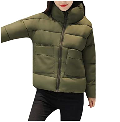 RSunshine Womens Casual Thicken Zipper Pea Coat Jacket Long Sleeve ...