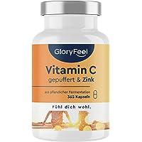 Vitamin C + Zink - 365 Veganska Kapslar - Premium: 1000 mg Skonsamt C Vitamin (pH-Neutral) + 20 mg Zink från Zinkcitrat…