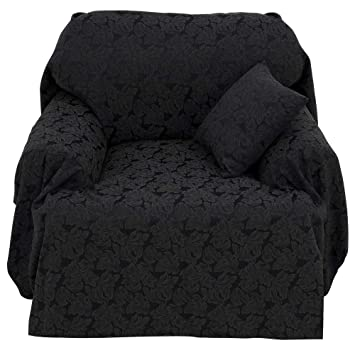 Stylemaster Ibiza Cotton Rich Jacquard Leaf Furniture Throw Cover And  Pillow Set For Chair, Black