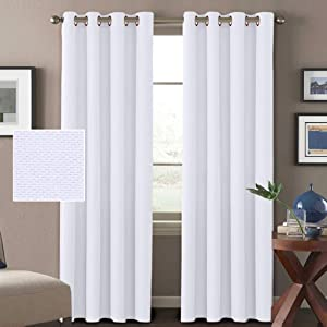 H.VERSAILTEX Linen Curtains White Thermal Insulated Grommet Room Darkening Rich Linen Curtains Window Treatment Panels for Bedroom, Feature Burlap Textured Linen, Pure White, 52 by 96 Inch (2 Panels)