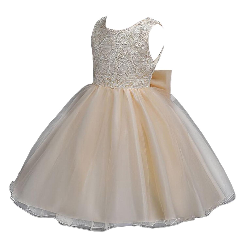 WanYang Enfant Filles Robe De Mariage Soirée Formelle Noeud Floral Dentelle  Robe Demoiselle Sans Manches Princesse 28f2710259af