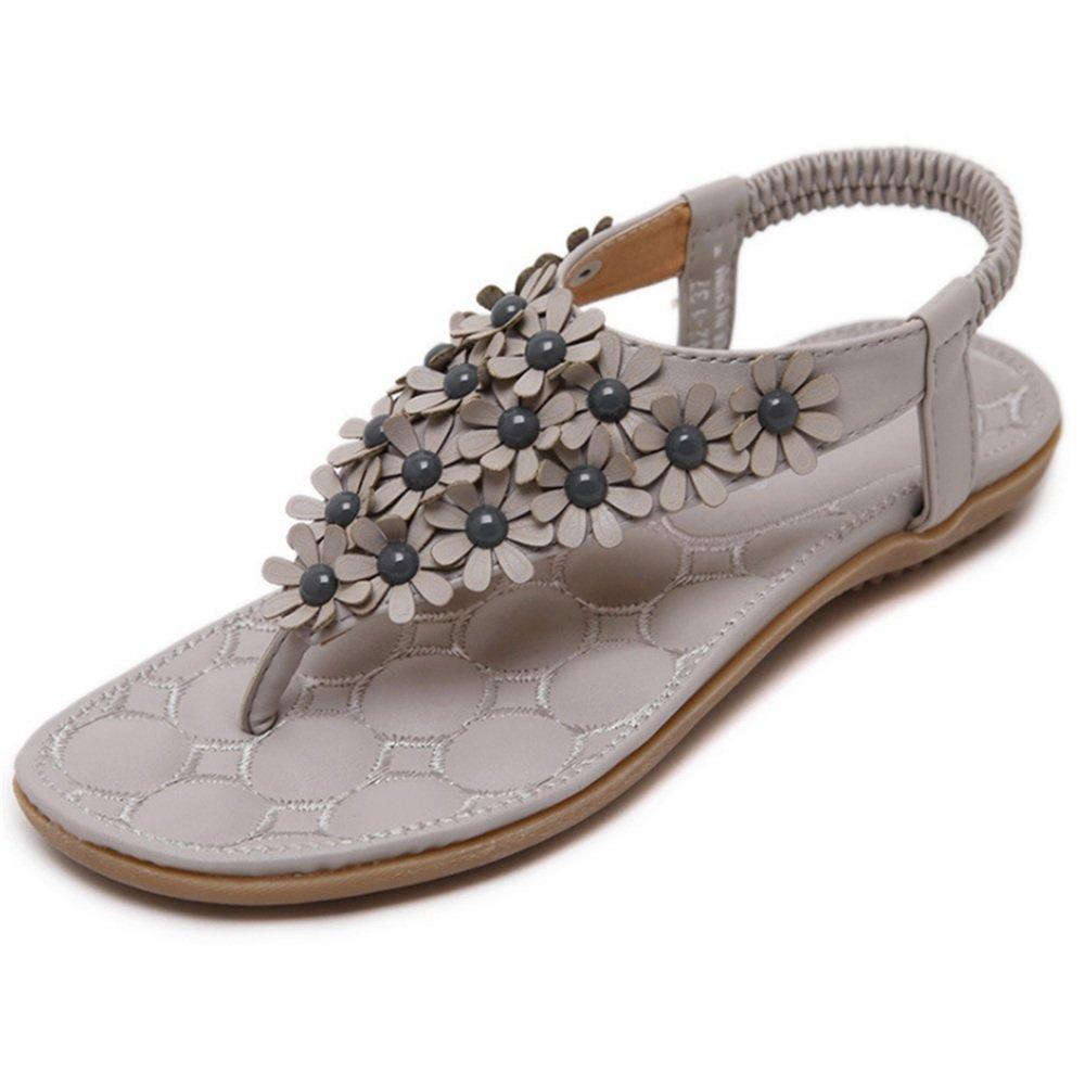 Wangcui Frauen Sommer Boho Süße Blume Flache Perlen Flip-Flops Schuhe Flache Blume Sandalen Strandschuhe (Farbe : Grau, Größe : 36 2/3 EU) Grau e55a34