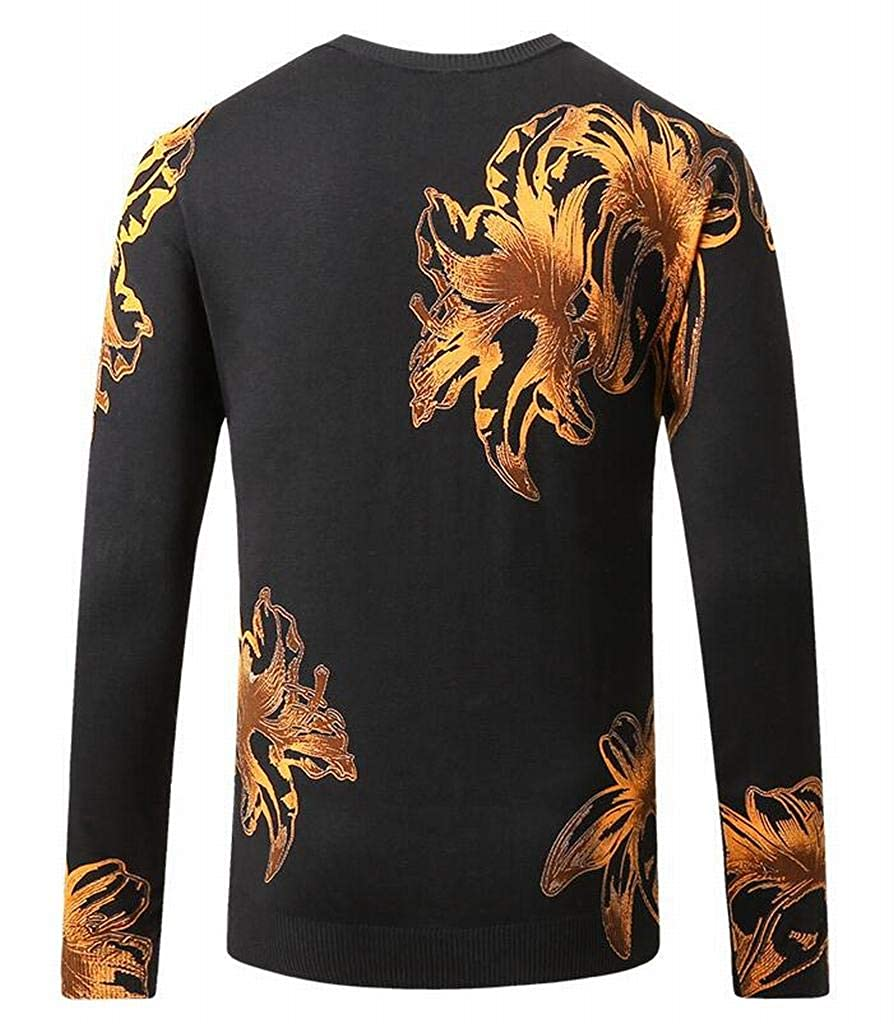 ARTFFEL Mens Slim Long Sleeve Crewneck Knit Chinese Style Basic Pullover Sweater