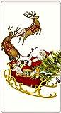 """Santa Claus Reindeer Sleigh 100% Cotton Flour Sack Dish Tea Towel - Mary Lake Thompson 30"""" x 30"""""""