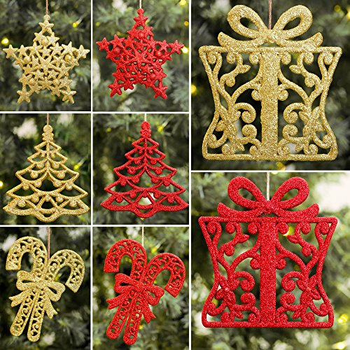 Valery Madelyn 24ct 10-13cm Red and Gold Sparkling Essential Christmas Ornaments Set Glittery Christmas Decoration-Tree, Snowflake, Candy Cane and Gift Box,24 Pcs Metal Hooks Included (Trees Gold And Red Christmas)