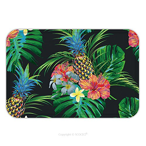 [Flannel Microfiber Non-slip Rubber Backing Soft Absorbent Doormat Mat Rug Carpet Tropical Flowers Pineapples Palm Leaves Jungle Leaf Monstera Hibiscus Beautiful Seamless 519359692 for Indoor/Outdoor/B] (Leaves Hooked Rug)