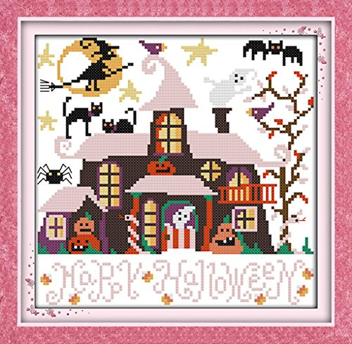 WHEEXLOCK Counted Cross Stitch Kits Halloween Cabin 11 Count 12.6