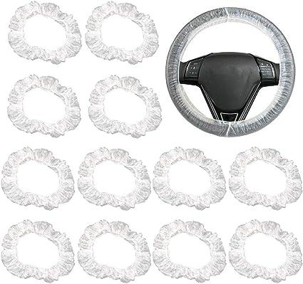 Flofia 100pcs Lenkradabdeckung Kunststoff Lenkradhülle Transparent Lenkradbezug Plastik Wiederverwendbar Lenkradschutz Für Auto Universal Anti Staub Wasserdicht Auto