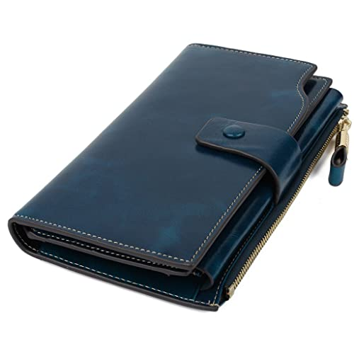 YALUXE Women's Large Capacity Luxury Wax Genuine Leather Wallet With Zipper Pocket