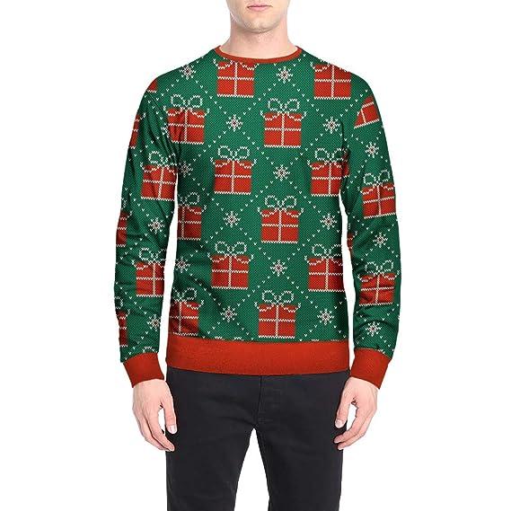 Hombres Otoño Invierno Navidad Impresión Top Hombres Camiseta de Manga Larga Blusa por Internet