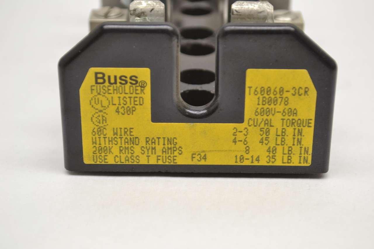 COOPER BUSSMANN T60060-3CR BLOCK BUSS 60A AMP 3P 600V-AC FUSE HOLDER B479820