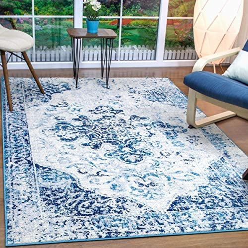 Antep Rugs Elite Collection Bohemian Distressed DSG44 Indoor Area Rug Blue