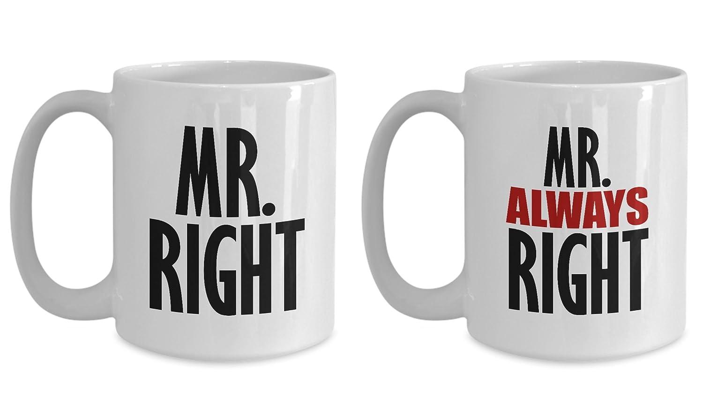 Mr。Rightと常に右面白いギフトマグのセット2つCouple LGBT Gayメンズ夫パートナーボーイフレンド結婚記念日誕生日Sarcasticコーヒーカップ 15oz GB-1831718-43-White 15oz ホワイト B07722T4PP
