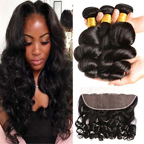 Huarisi Loose Wave Hair with Frontal 8a Malaysian Hair Wet and Wavy Weave 3 Bundles Human Virgin Hair with Silk Frontal 13 x 4 Ear to Ear Closure Cheap 100g/Bundle 16 18 20 +14