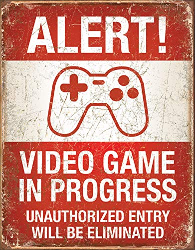 Desperate Enterprises Alert! Video Game in Progress Tin Sign, 12.5 W x 16 H