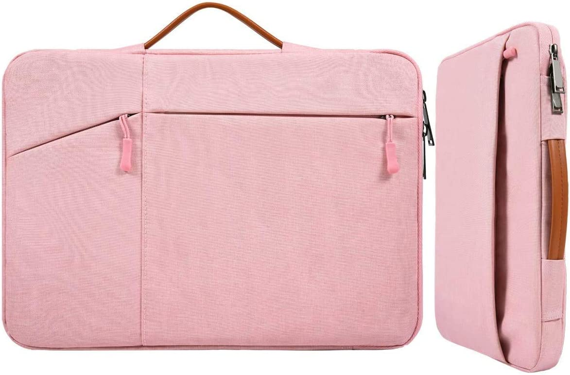 17.3 Inch Laptop Briefcase Sleeve Women Ladies Bag with Handle for HP Envy 17/Pavilion 17/OMEN 17.3, Dell G3 G7 17.3/Dell Inspiron 17, Acer Aspire 17, Lenovo ASUS ROG MSI GS75 GF75 17.3 Case, Pink