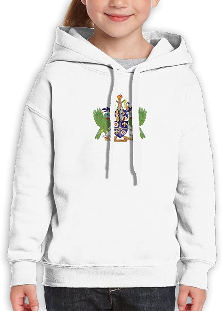 DTMN7 Coat Of Arms Of Saint Lucia New Style Printed Long Sleeve Sweatshirt For Kids Unisex Spring Autumn Winter
