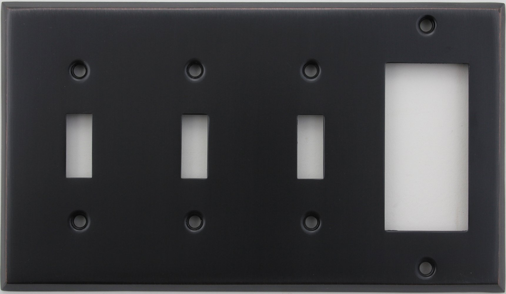 Classic Accents Stamped Steel Oil Rubbed Bronze Four Gang Wall Plate - Three Toggle Light Switch Opening One GFI/Rocker Opening