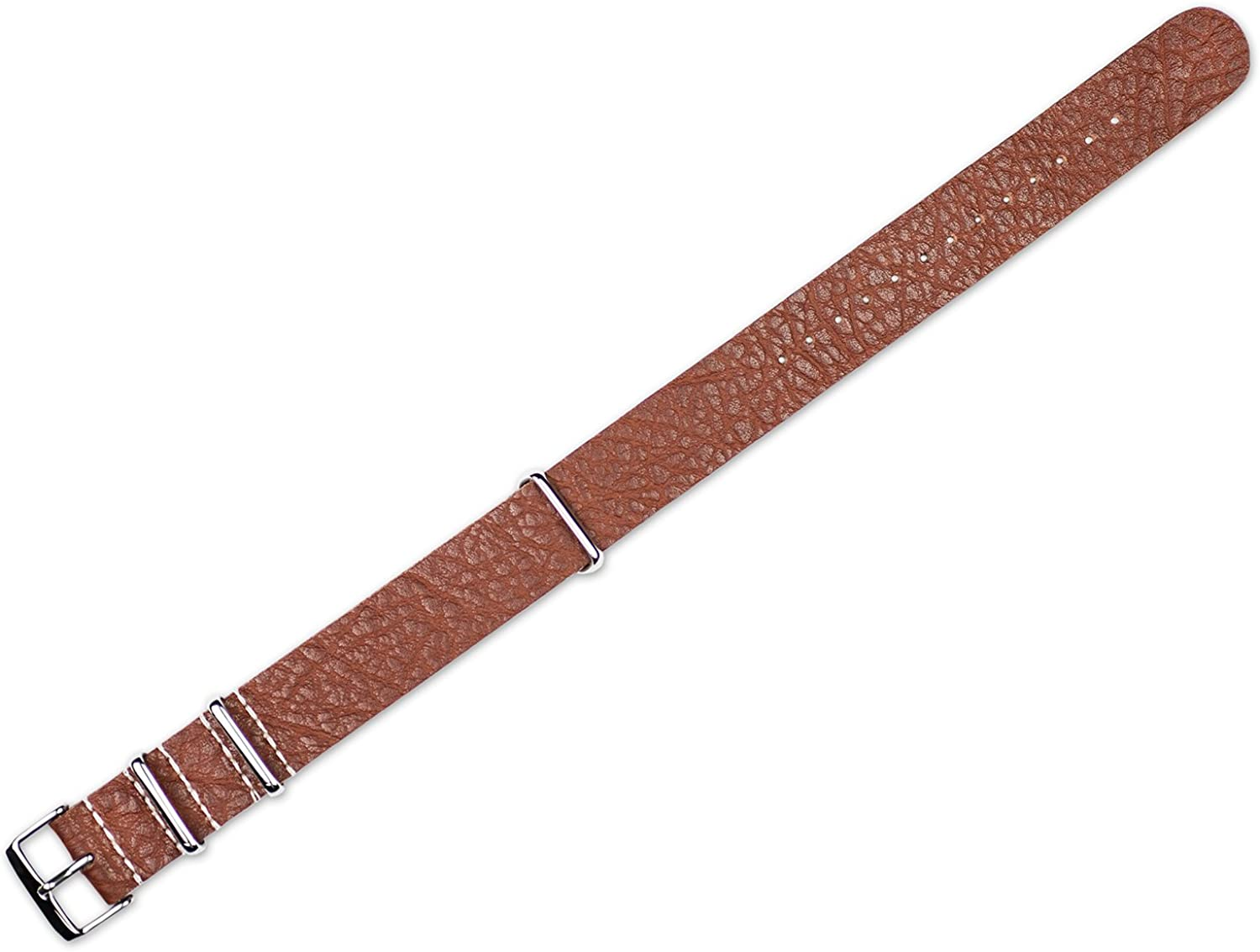 22mm Replacement Leather Watch Band - Military Style One Piece Leather - Havana Watch Strap