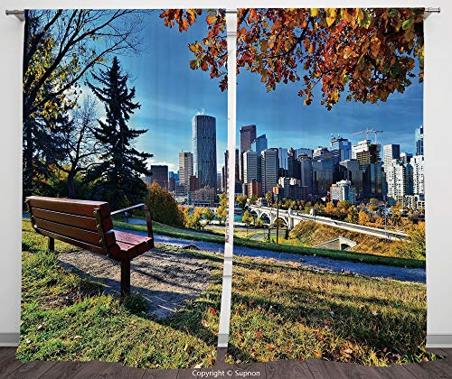 Rod Pocket Curtain Panel Polyester Translucent Curtains for Bedroom Living Room Dorm Kitchen Cafe/2 Curtain Panels/120 x 66 Inch/City,Park Bench Overlooking the Skyline of Calgary Alberta During Autum -
