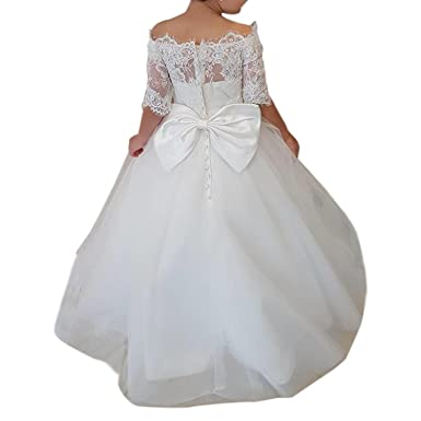 70e380d28a7 Image Unavailable. Image not available for. Color  Gzcdress White Communion  Dresses Lace Flower Girls Dress Short Sleeves Off Shoulder Tulle Ball Gowns  37