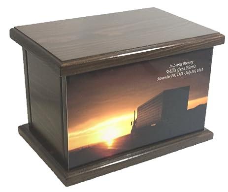 amazon com truck cremation urn wood funeral urn trucker s wooden