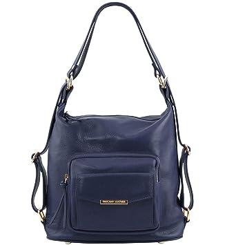 Tuscany Leather TL Bag - Bolso de señora en Piel Convertible en Mochila - TL141535 (Azul Oscuro): Amazon.es: Equipaje