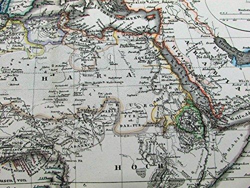 Africa Afrika Algeria mountain topography 1870 Stulpnagel Stieler antique map