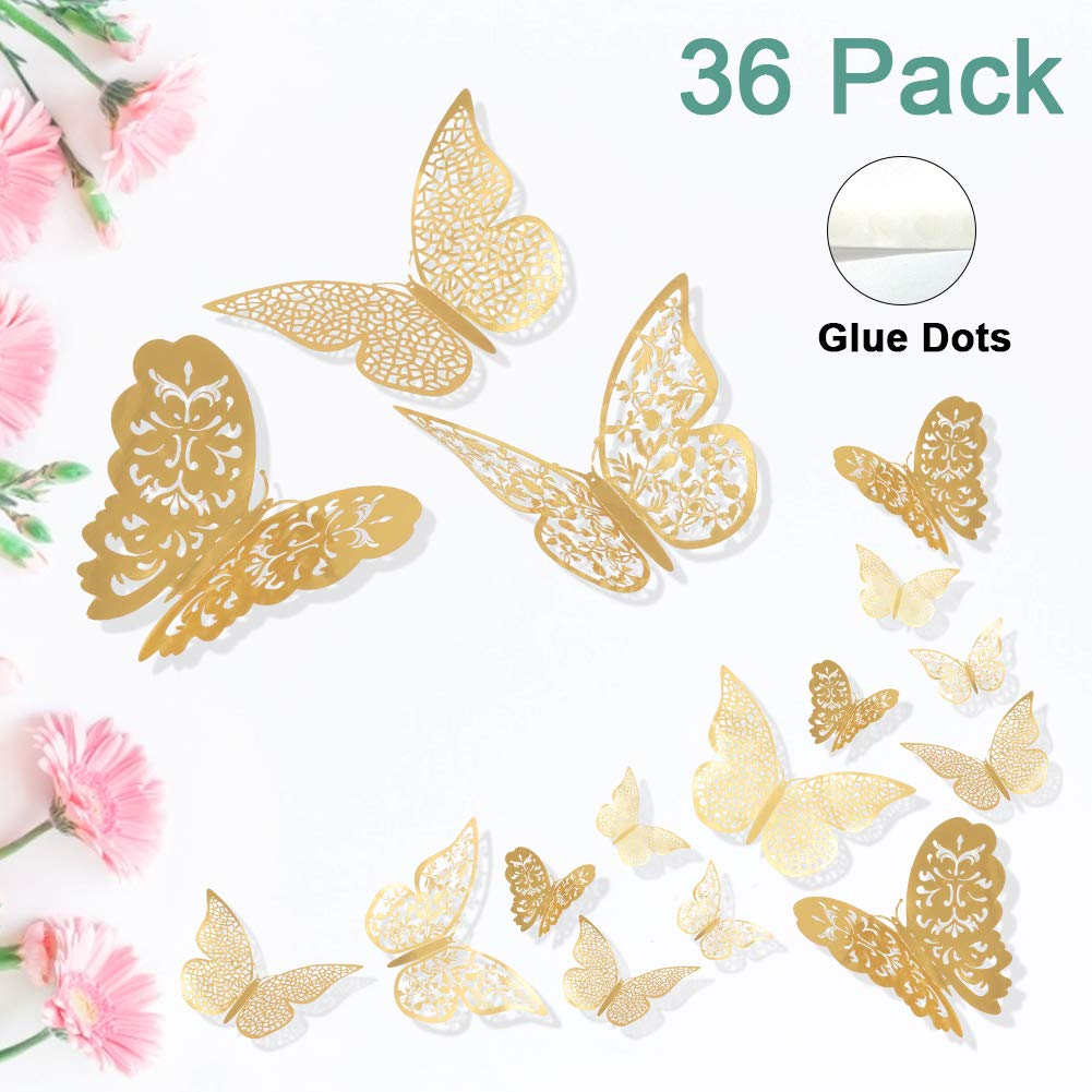 ForTomorrow Butterfly Wall Decals Gold Metallic Paper 3D Home Decor Art Stickers DIY Man-Made Decorative Murals for Living Room Kids Girls Bedroom Nursery Party (Gold(Single-Layer Wing), 36 PCS)